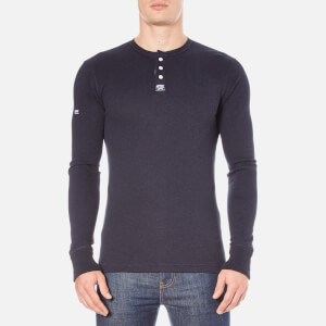 Superdry Men's Heritage Long Sleeve Grandad Top - Eclipse Navy Marl