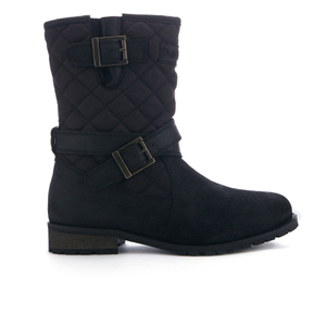 Barbour Women's Barbour Belham Waxy Suede Quilted Biker Boots - Black