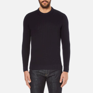 Folk Men's Textured Knitted Jumper - Navy