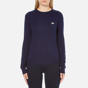 Love Moschino Women's Silver Heart Pendant Jumper - Navy