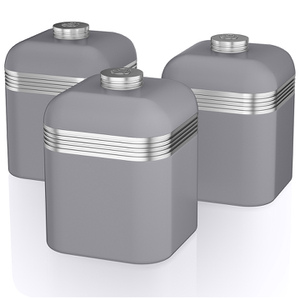 Swan Retro Canisters - Grey (Set of 3)