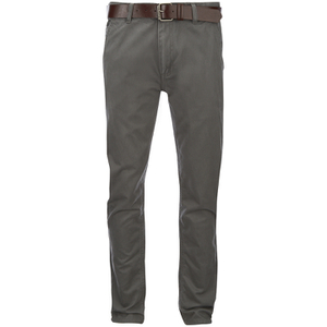Smith & Jones Men's Ashlar Belted Slim Fit Chinos - Charcoal Twill