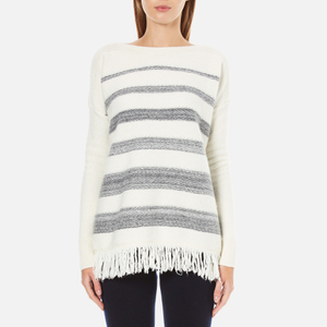 Woolrich Women's Soft Blanket Sweater - Frost White Stripe
