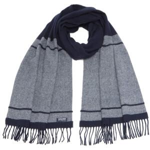 Woolrich Women's Classic Double Wool Scarf - Navy Stripe