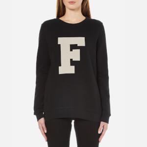 French Connection Women's Zip Crew Neck Sweatshirt - Black/White