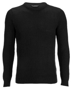Kensington Eastside Men's Auldhome Textured Crew Neck Jumper - Black