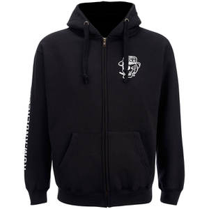 Rum Knuckles Mens Smokin Skull Zip Through Hoody - Zwart
