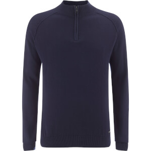 Threadbare Men's Annakin Quarter Zip Funnel Neck Knitted Jumper - Rich Navy