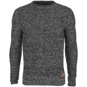 Threadbare Men's Potter Twist Yarn Fisherman Jumper - Black/White