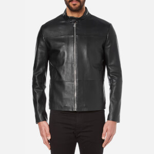 HUGO Men's Lefox Leather Jacket - Black