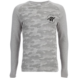 Jack & Jones Men's Core Frank Camo Long Sleeve Top - Light Grey Melange