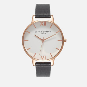 Olivia Burton Women's White Big Dial Watch - Black/Rose Gold