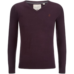 Soul Star Men's Alpha V Neck Jumper - Plum