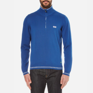 BOSS Green Men's Zime Zip Neck Knitted Jumper - Open Blue
