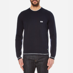 BOSS Green Men's Rime Crew Neck Knitted Jumper - Navy