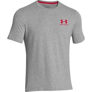 Under Armour Men's Sportstyle Left Chest Logo T-Shirt - True Grey Heather/Red
