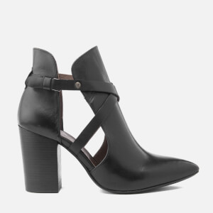 H Shoes by Hudson Women's Geneve Leather Heeled Ankle Boots - Black