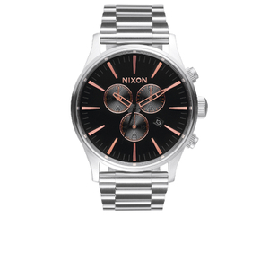 Nixon The Sentry Chrono Watch - Grey/Rose Gold