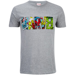 Marvel Herren Comic Strip Logo T-Shirt - Sport Grau