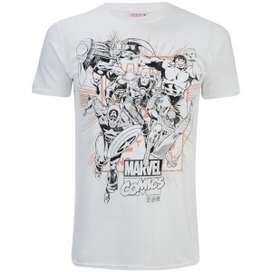 Marvel Herren Band of Heroes T-Shirt - Weiß