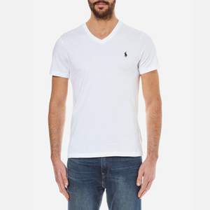Polo Ralph Lauren Men's Short Sleeve Custom Fit V-Neck T-Shirt - White