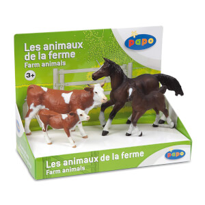 Papo Farmyard Friends: Display Box Farm Animals (4 Figurines)
