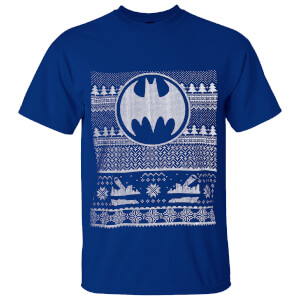 DC Comics Herren Batman Fairisle Christmas T-Shirt - Blau