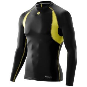 Skins Carbonyte Men's Long Sleeve Round Neck Baselayer - Black/Yellow