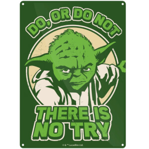 Star Wars Yoda 'Try' Small Tin Sign 29cm x 42cm