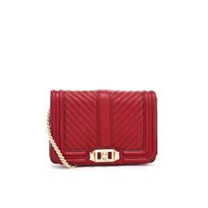 Rebecca Minkoff Women's Chevron Quilted Small Love Cross Body Bag - Deep Red