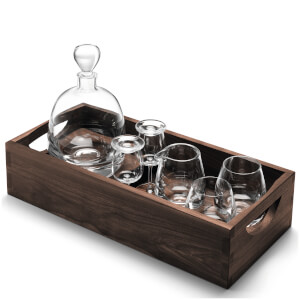 LSA Whisky Islay Connoisseur Set Clear With Walnut Tray - 44cm