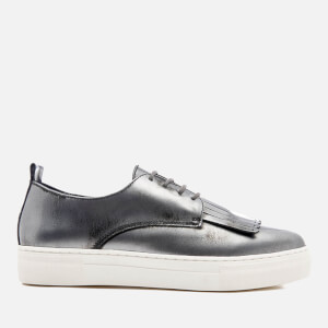 Dune Women's Eddy Leather Flatform Trainers - Pewter Metallic