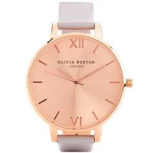 Olivia Burton Women's Big Dial Watch - Grey Lilac & Rose Gold