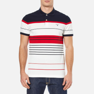 GANT Men's Multi Stripe Pique Polo Shirt - Clear Red