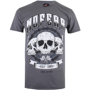 No Fear Men's Skull Chain T-Shirt - Charcoal