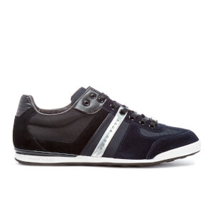 BOSS Green Men's Akeen Leather Trainers - Dark Blue