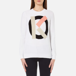 KENZO Women's Logo Cotton Intarsia K Lightweight Knitted Jumper - White