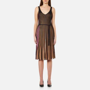 KENZO Women's Bicolour Cotton Blend Ribs Midi Dress - Beige