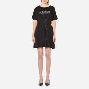 KENZO Women's Cotton Single Jersey Lace Up Dress - Black
