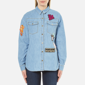 KENZO Women's Light Washed Blue Denim Patchwork Shirt - Blue