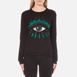 KENZO Women's Embroidered Eye On Light Cotton Molleton Sweatshirt - Black