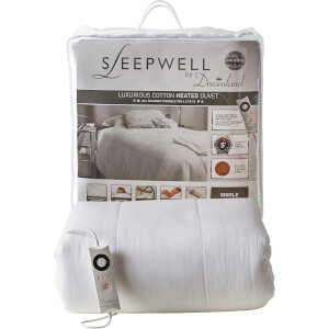 Dreamland 16328 Sleepwell Intelliheat Luxury Heated Cotton Duvet - White - Single