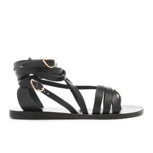 Ancient Greek Sandals Women's Satira Multi Strap Vachetta Leather Gladiator Sandals - Black