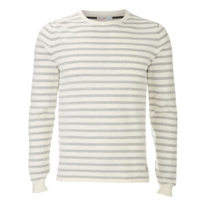 Jack & Jones Originals Men's Leo Stripe Crew Neck Jumper - White