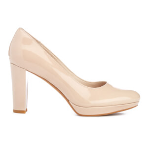 Clarks Women's Kendra Sienna Patent Platform Court Shoes - Nude