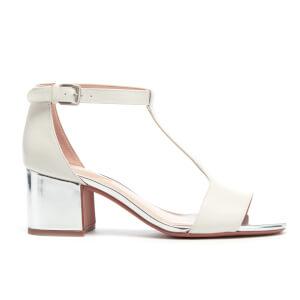 Clarks Women's Barley Belle Leather T Bar Mid Heels - White Combi