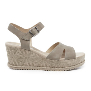 Clarks Women's Akilah Eden Leather Wedged Sandals - Sage
