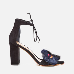 Loeffler Randall Women's Virginia Floral Embroidered Suede Two Part Sandals - Black Floral