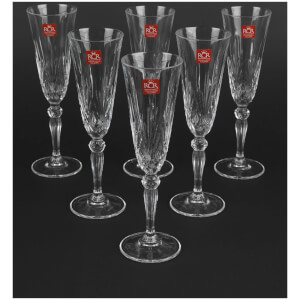 RCR Crystal Melodia Champagne Flutes Wine Glasses (Set of 6)