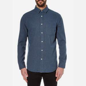 GANT Rugger Men's Melange Twill Long Sleeve Shirt - Navy